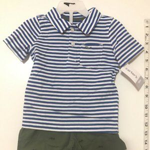 NWT Carters 2 Piece Set Striped Shirt & Shorts